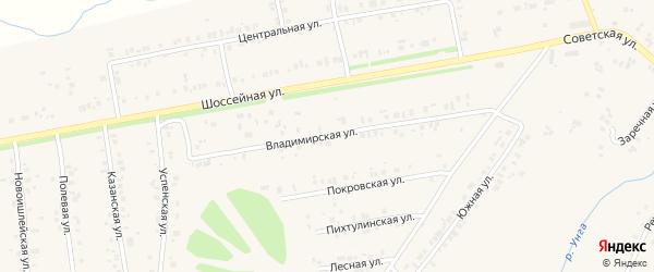 Владимирская улица на карте села Ишлеи с номерами домов