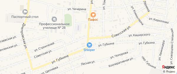 Советская улица на карте села Енотаевки с номерами домов