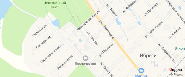 Улица Чапаева на карте поселка Ибреси с номерами домов