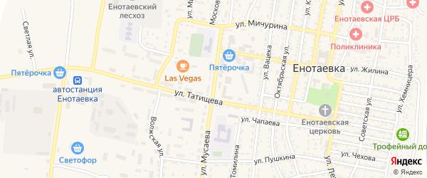 Улица Мусаева на карте села Енотаевки с номерами домов