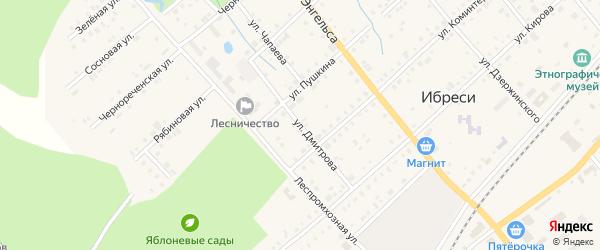 Улица Дмитрова на карте поселка Ибреси с номерами домов