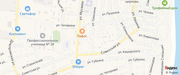 Переулок Томилина на карте села Енотаевки с номерами домов