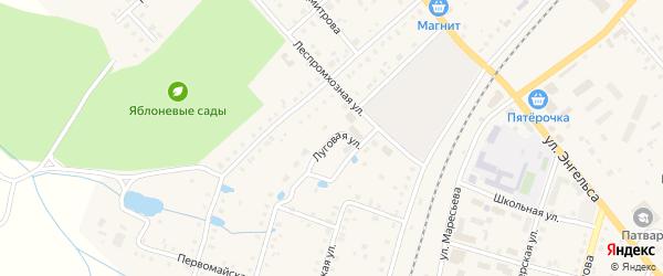 Луговая улица на карте поселка Ибреси с номерами домов