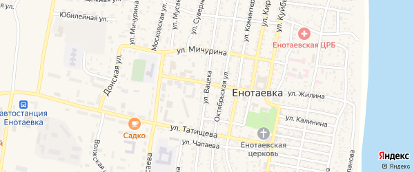 Улица Вацека на карте села Енотаевки с номерами домов