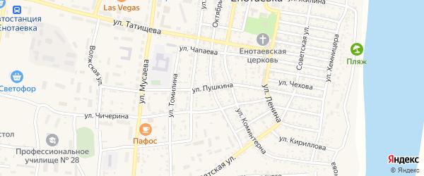 Улица Пушкина на карте села Енотаевки с номерами домов