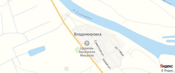 Карта села Владимировки в Астраханской области с улицами и номерами домов