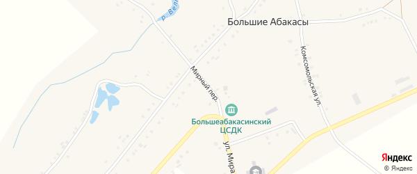 Мирный переулок на карте деревни Большие Абакасы с номерами домов