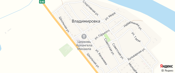 Улица А.Кенжиева на карте села Владимировки с номерами домов
