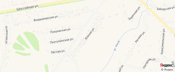 Южная улица на карте села Ишлеи с номерами домов