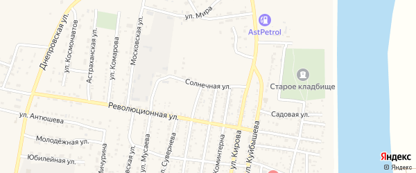 Солнечная улица на карте села Енотаевки с номерами домов