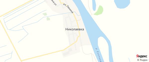 Карта села Николаевки в Астраханской области с улицами и номерами домов