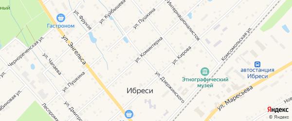 Улица Дзержинского на карте поселка Ибреси с номерами домов