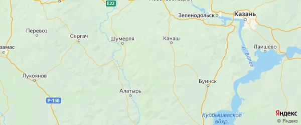 Карта Ибресинского района республики Чувашия с городами и населенными пунктами
