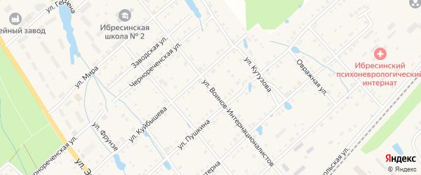 Улица Воинов-интернационалистов на карте поселка Ибреси с номерами домов