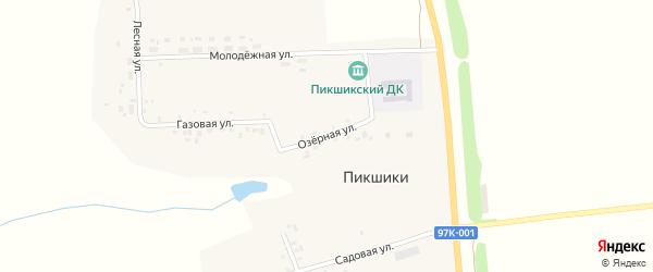 Озерная улица на карте деревни Пикшики с номерами домов