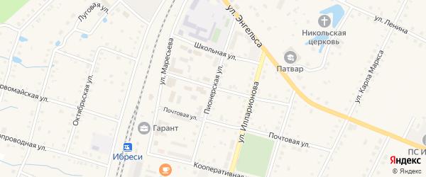 Пионерская улица на карте поселка Ибреси с номерами домов