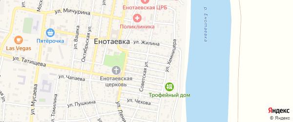 Улица Калинина на карте села Енотаевки с номерами домов