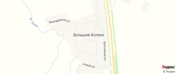 Карта деревни Большие Котяки в Чувашии с улицами и номерами домов