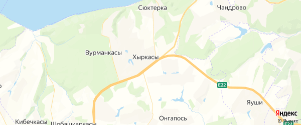 Карта Ишлейского сельского поселения республики Чувашия с районами, улицами и номерами домов