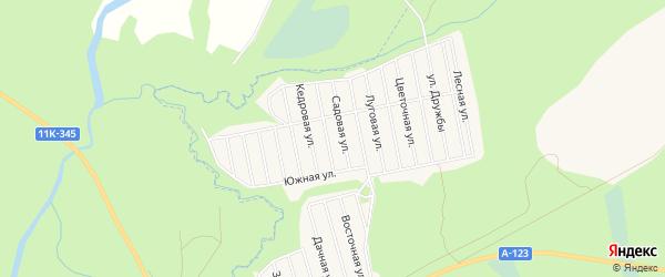 Карта садового некоммерческого товарищества Строителя сада N3 города Коряжмы в Архангельской области с улицами и номерами домов