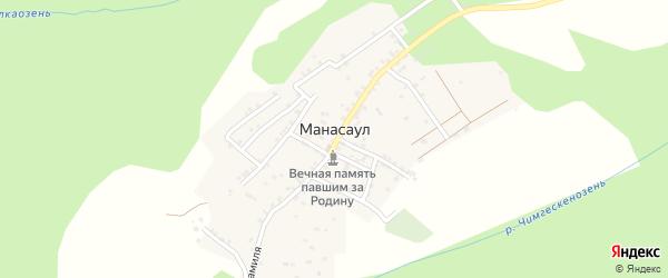 Улица Расула Гамзатова на карте села Манасаула с номерами домов