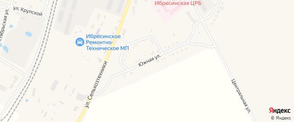 Южная улица на карте поселка Ибреси с номерами домов