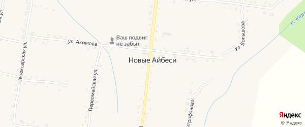 Овражный переулок на карте села Новые Айбеси с номерами домов