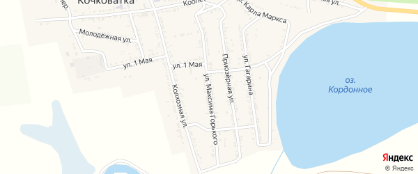 Улица М.Горького на карте села Кочковатки с номерами домов