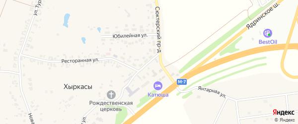 Проектная улица на карте села Хыркас с номерами домов