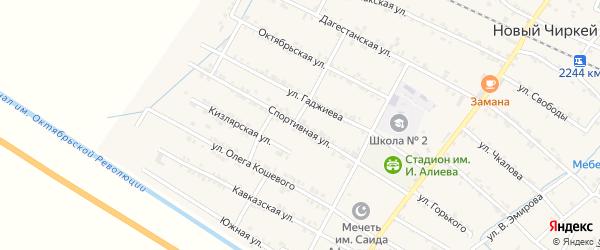 Спортивная улица на карте села Нового Чиркея с номерами домов