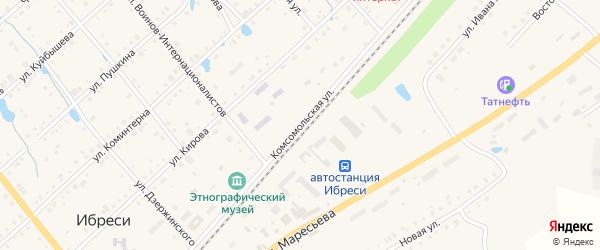 Комсомольская улица на карте поселка Ибреси с номерами домов