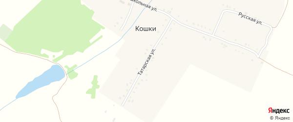 Татарская улица на карте деревни Кошки с номерами домов