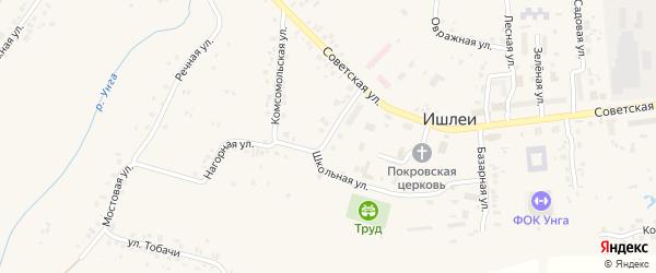 Улица Ленина на карте села Ишлеи с номерами домов