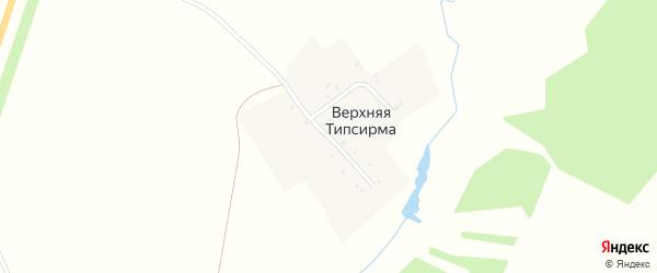 Зеленая улица на карте деревни Верхней Типсирмы с номерами домов