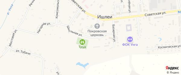 Школьная улица на карте села Ишлеи с номерами домов