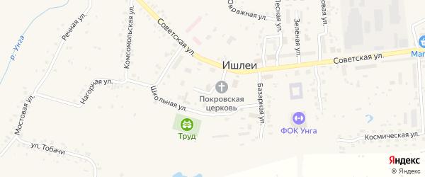 Санаторный переулок на карте села Ишлеи с номерами домов
