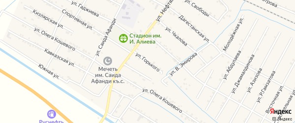 Улица Горького на карте села Нового Чиркея с номерами домов