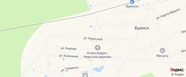 Улица Крупской на карте поселка Буинска с номерами домов