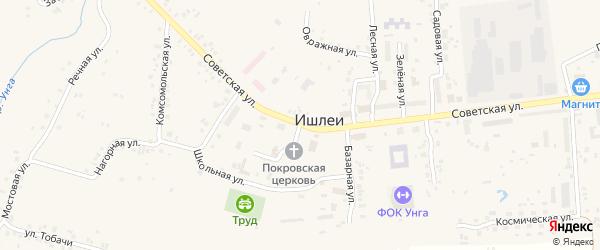 Советская улица на карте села Ишлеи с номерами домов