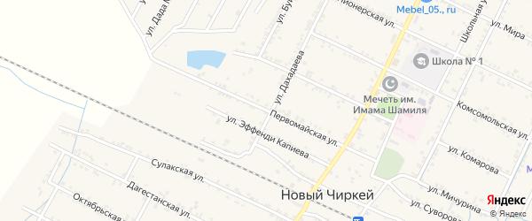 Первомайская улица на карте села Нового Чиркея с номерами домов