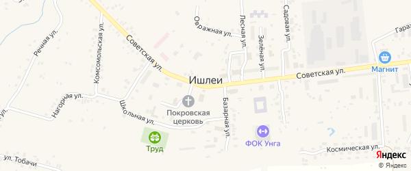 Западная улица на карте села Ишлеи с номерами домов