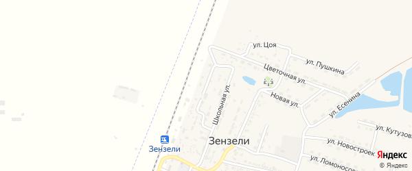 Железнодорожная улица на карте села Зензели с номерами домов
