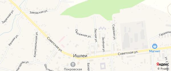 Овражная улица на карте села Ишлеи с номерами домов