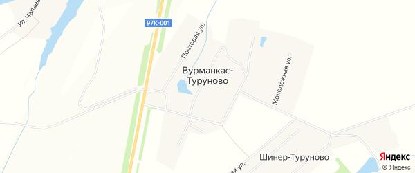 Карта деревни Вурманкас-Туруново в Чувашии с улицами и номерами домов