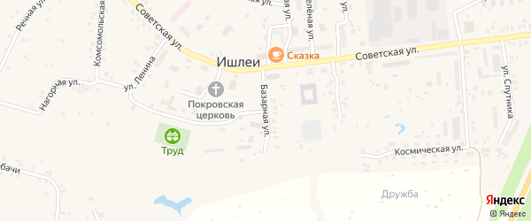 Базарная улица на карте села Ишлеи с номерами домов