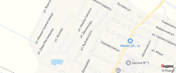 Улица Буйнакского на карте села Нового Чиркея с номерами домов
