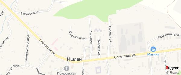 Лесная улица на карте села Ишлеи с номерами домов