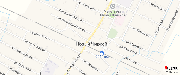 Улица Саида Афанди на карте села Нового Чиркея с номерами домов