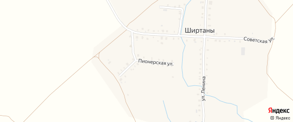 Пионерская улица на карте деревни Ширтаны с номерами домов