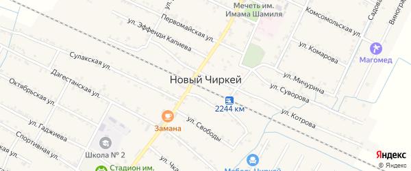 Салатавская улица на карте села Нового Чиркея с номерами домов
